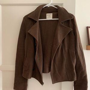 Brown Moto-Style Sweatshirt Jacket